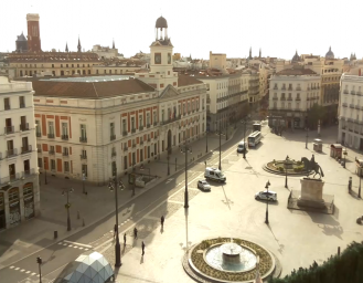 Great panoramic view of the main square, in the heart of Madrid