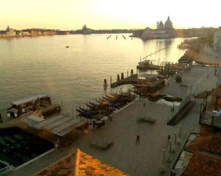 Venice - St. Mark's Basin, Riva degli Schiavoni . View over the Basilica of St. Mary of Health, Giudecca Canal in the background