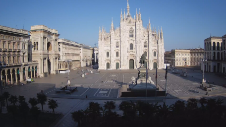 View over the Milan Cathedral, the Galleria and the equestrian statue of Vittorio Emanuele II